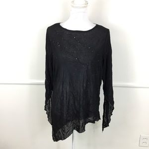NEW Torrid Black Sheer Sequin Asymmetrical Tunic